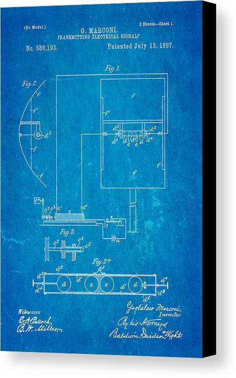 Electricity Canvas Print featuring the photograph Marconi Radio Patent Art 1897 Blueprint by Ian Monk