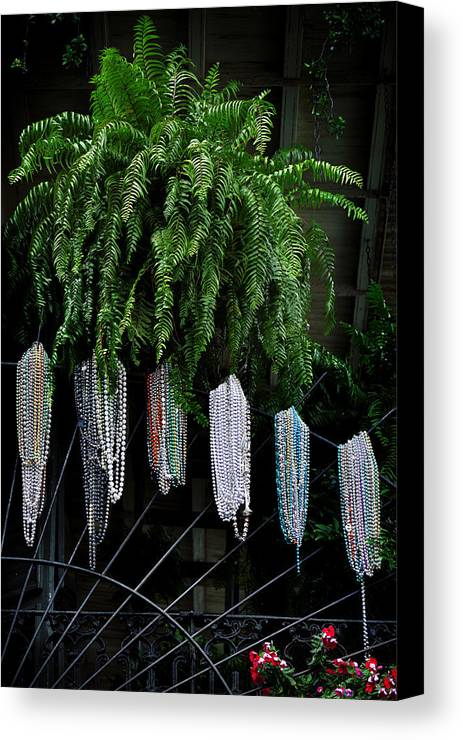 Mardi Canvas Print featuring the photograph Mardi Gras Beads New Orleans by Christine Till