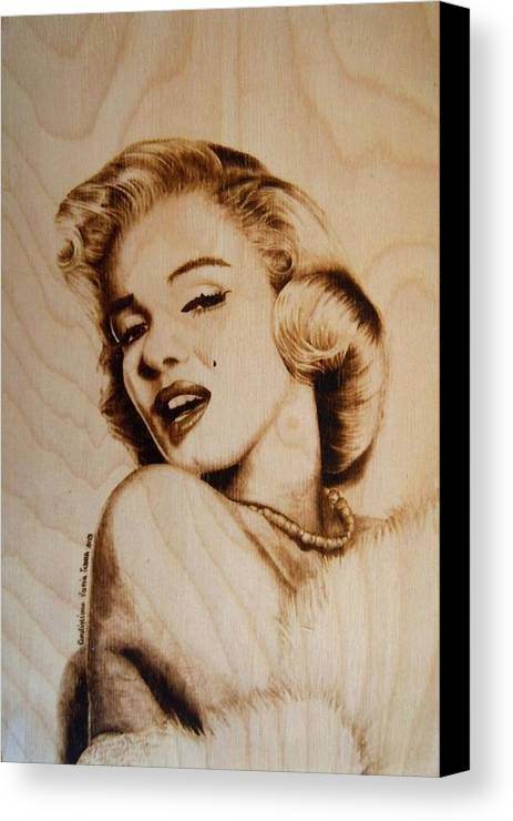 Pirography Canvas Print featuring the pyrography Marilyn by Lucia Ivana Cardigliano