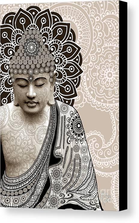 Buddha Canvas Print featuring the digital art Meditation Mehndi - Paisley Buddha Artwork - Copyrighted by Christopher Beikmann