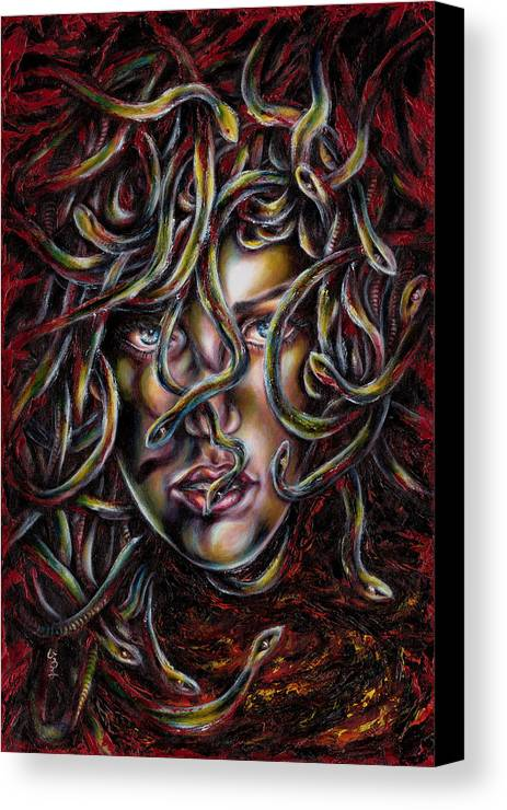 Medusa Canvas Print featuring the painting Medusa No. Three by Hiroko Sakai