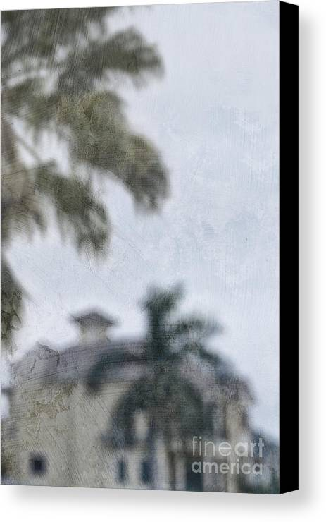 Summer; House; Home; Outside; Outdoors; Florida; Floridian; Mansion; Palm; Tree; Palm Tree; Sky; Nobody; Expensive; Retreat; Tower; Naples; Palace; Architecture; Roof; Windows; Blurry; Defocused Canvas Print featuring the photograph Memories Of The Tropics by Margie Hurwich