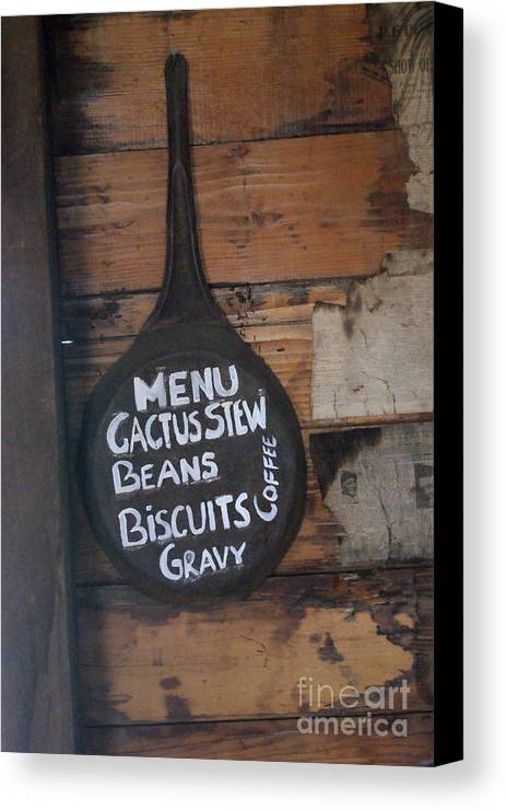 Cast Iron Fry Pan Canvas Print featuring the photograph Menu by Rob Ladely