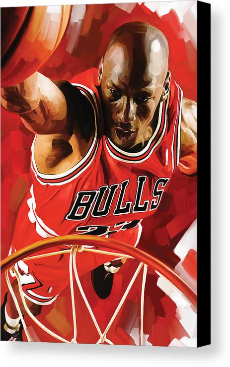 Nba Canvas Print featuring the painting Michael Jordan Artwork 3 by Sheraz A