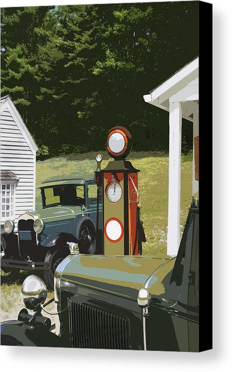 Model A Ford Canvas Print featuring the photograph Model A Ford And Old Gas Station Illustration by Keith Webber Jr