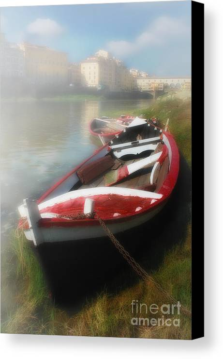 Mist Canvas Print featuring the photograph Morning Mist On The Arno River Italy by Mike Nellums