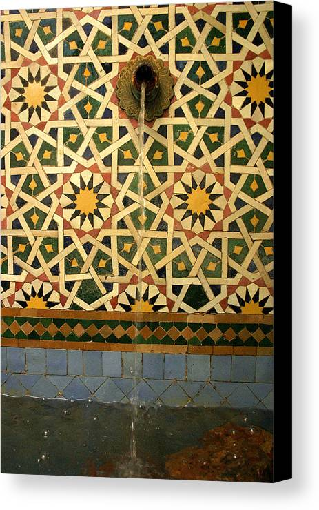 Morocco Canvas Print featuring the photograph Moroccan Water Fountain by Ralph A Ledergerber-Photography