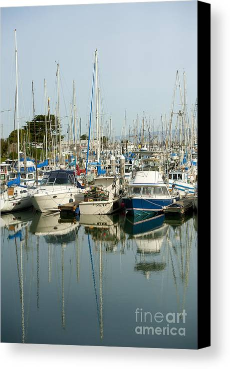 Moss Landing Harbor Canvas Print featuring the photograph Moss Landing Boat Harbor by Artist and Photographer Laura Wrede