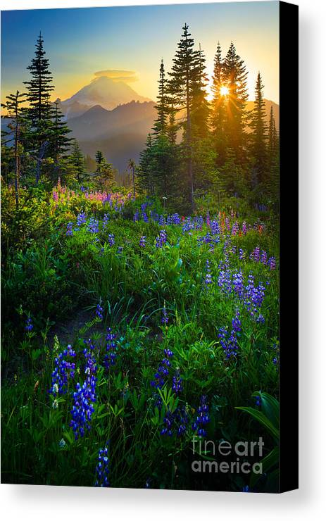 America Canvas Print featuring the photograph Mount Rainier Sunburst by Inge Johnsson