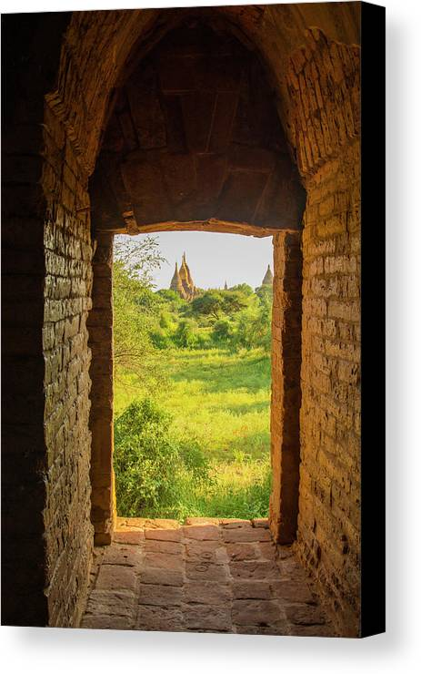 Bagan Canvas Print featuring the photograph Myanmar Bagan View Of Some Pagodas by Inger Hogstrom