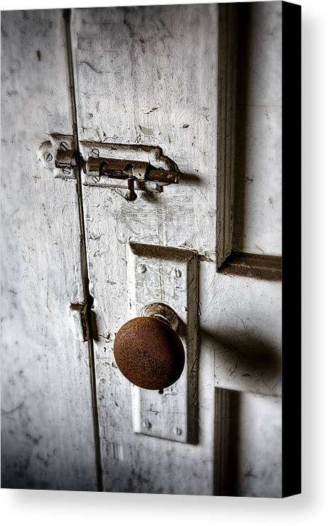 Doorknob Canvas Print featuring the photograph Mystery Door by Caitlyn Grasso