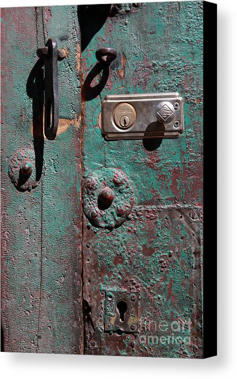 Door Canvas Print featuring the photograph New Lock On Old Door 3 by James Brunker