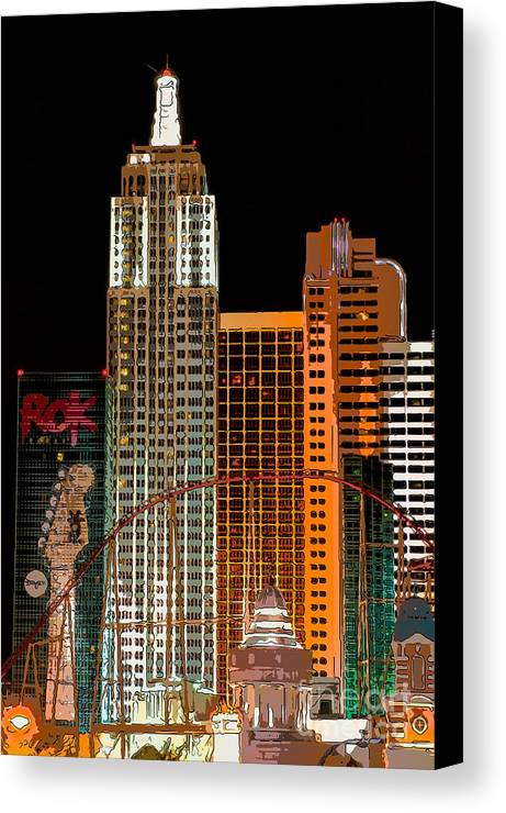 America Canvas Print featuring the photograph New York-new York Hotel Las Vegas - Pop Art Style by Ian Monk