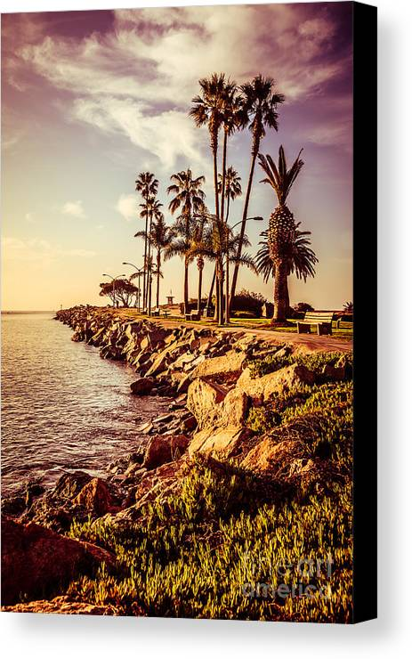 America Canvas Print featuring the photograph Newport Beach Jetty Vintage Filter Picture by Paul Velgos