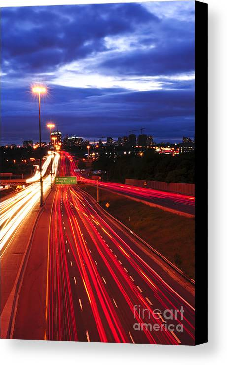 Traffic Canvas Print featuring the photograph Night Traffic by Elena Elisseeva