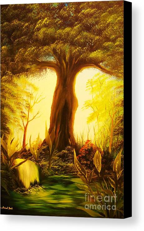 Oak Canvas Print featuring the painting Oak Tree Lake-original Sold- Buy Giclee Print Nr 33 Of Limited Edition Of 40 Prints by Eddie Michael Beck