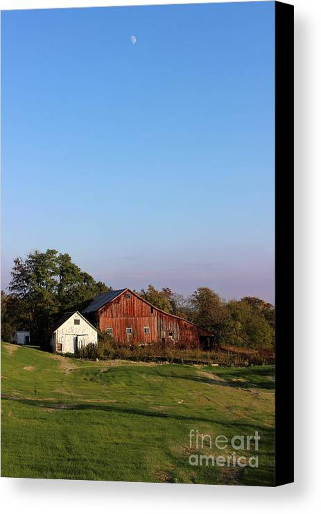 Barn Canvas Print featuring the photograph Old Barn At Sunset by Karen Adams