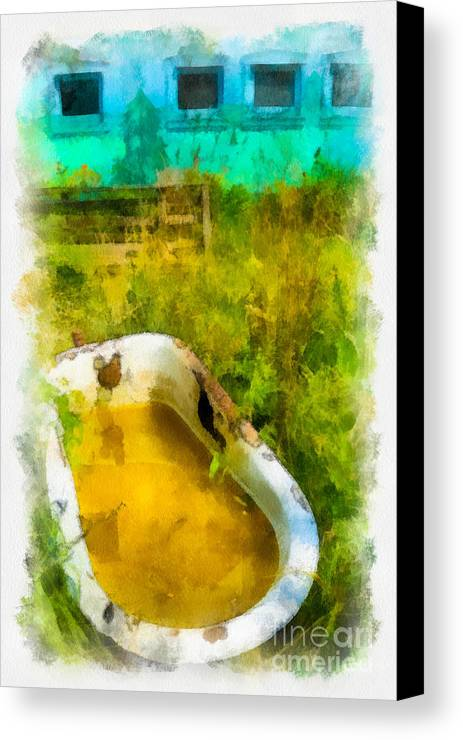 Abandoned Canvas Print featuring the digital art Old Bathtub Near Painted Barn by Amy Cicconi