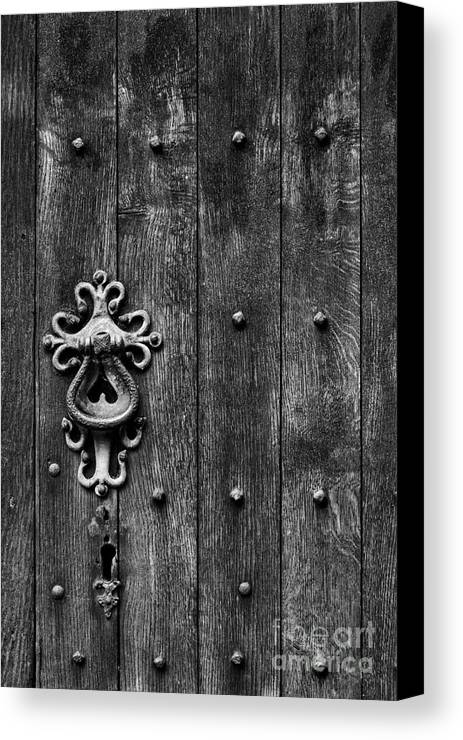 Old Canvas Print featuring the photograph Old English Church Door Handle by Tim Gainey