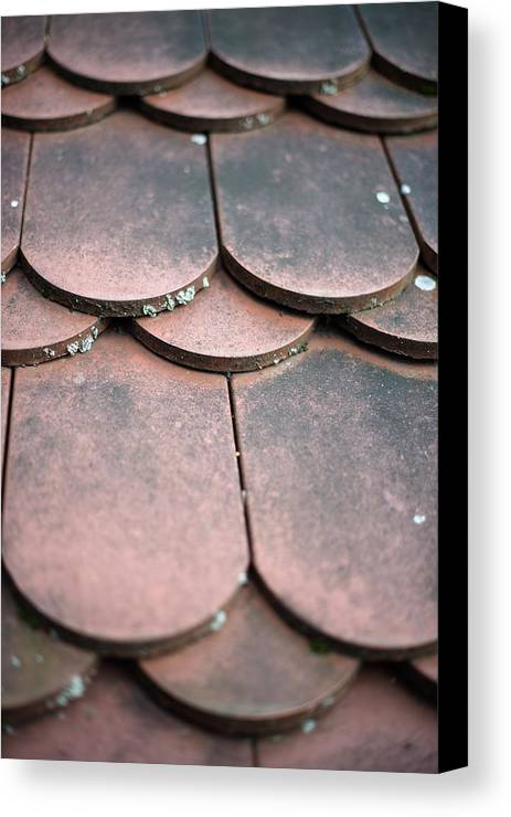 Material Canvas Print featuring the photograph Old House Red Roof Tiles by Frank Gaertner
