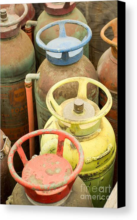 Fire Canvas Print featuring the photograph Colorful Fire Extinguishers by Imagery by Charly