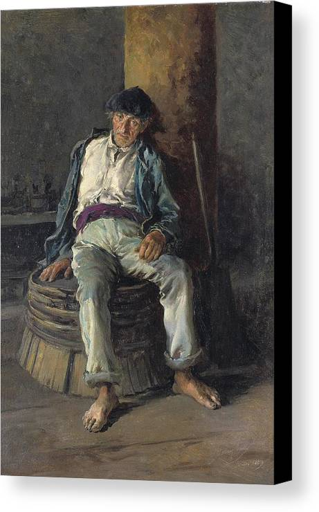 Vertical Canvas Print featuring the photograph Old Sailor Wearing A Beret, 1889 by Everett