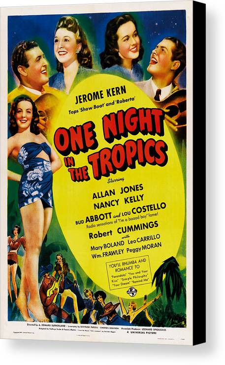 1940 Movies Canvas Print featuring the photograph One Night In The Tropics, Us Poster by Everett