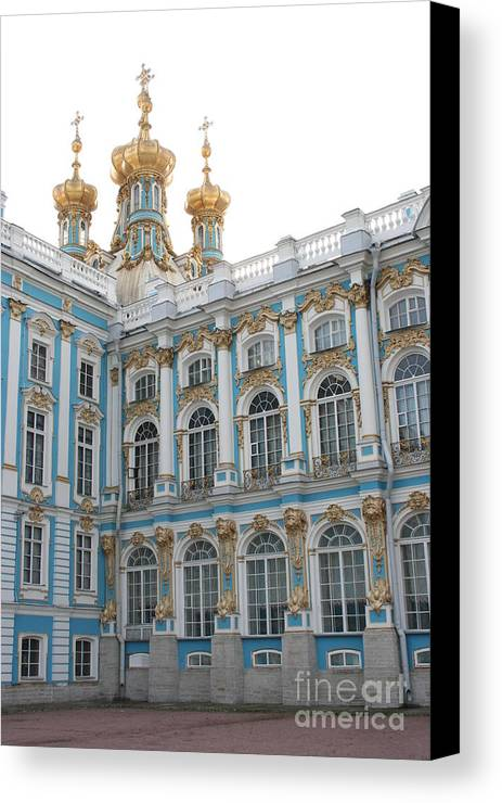 Palace Canvas Print featuring the photograph Onion Domes - Katharinen Palace - Russia by Christiane Schulze Art And Photography