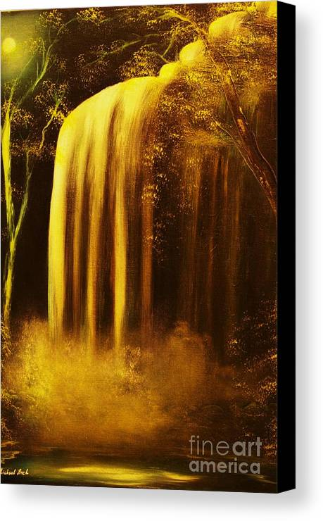 Waterfall Canvas Print featuring the painting Moon Shadow Waterfalls- Original Sold - Buy Giclee Print Nr 30 Of Limited Edition Of 40 Prints  by Eddie Michael Beck