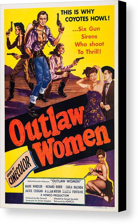 1950s Poster Art Canvas Print featuring the photograph Outlaw Women, Top Left Center Marie by Everett