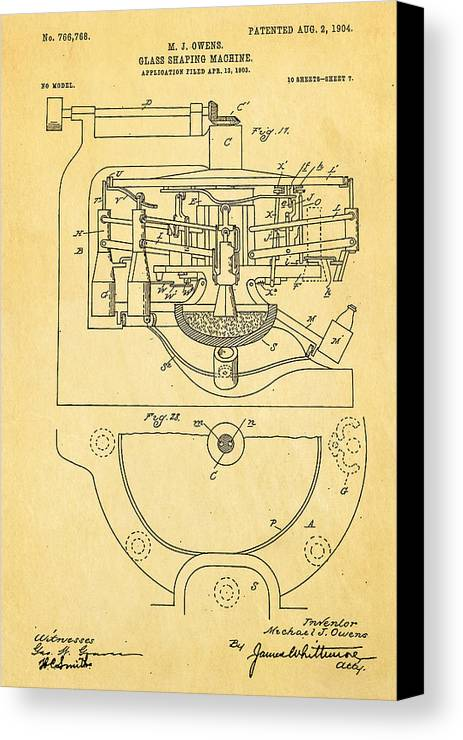Engineer Canvas Print featuring the photograph Owens Glass Shaping Machine Patent Art 3 1904 by Ian Monk