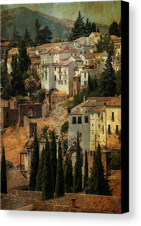 Spain Canvas Print featuring the photograph Painted Ronda. Spain by Jenny Rainbow