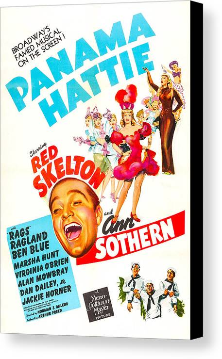 1940s Movies Canvas Print featuring the photograph Panama Hattie, Us Poster, Center by Everett