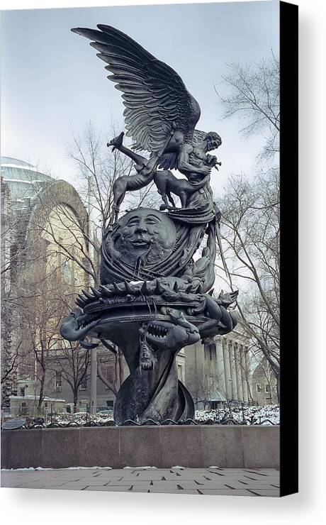 new York Canvas Print featuring the photograph Peace Sculpture In New York by Daniel Hagerman