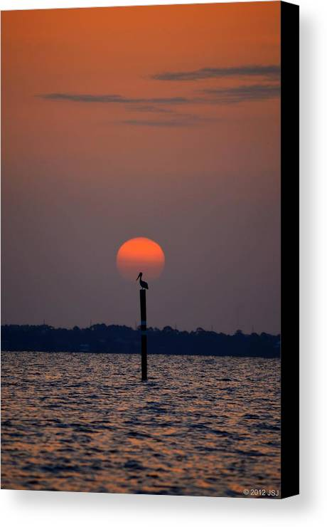 Pelican Canvas Print featuring the photograph Pelican Sunrise Silhouette On Sound by Jeff at JSJ Photography