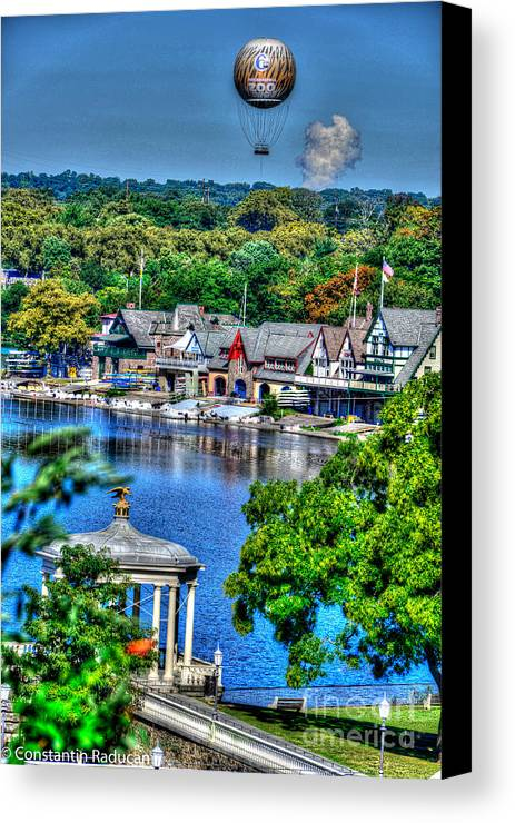Philadelphia Waterworks Canvas Print featuring the photograph Philadelphia -waterworks And Boat House Row And Zoo Balloon by Constantin Raducan