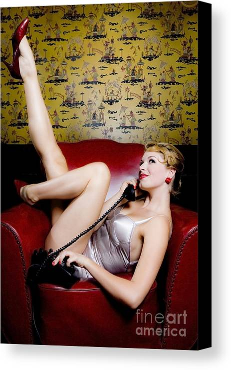 Bathing Suit Canvas Print featuring the photograph Pinup Girl With Phone by Diane Diederich