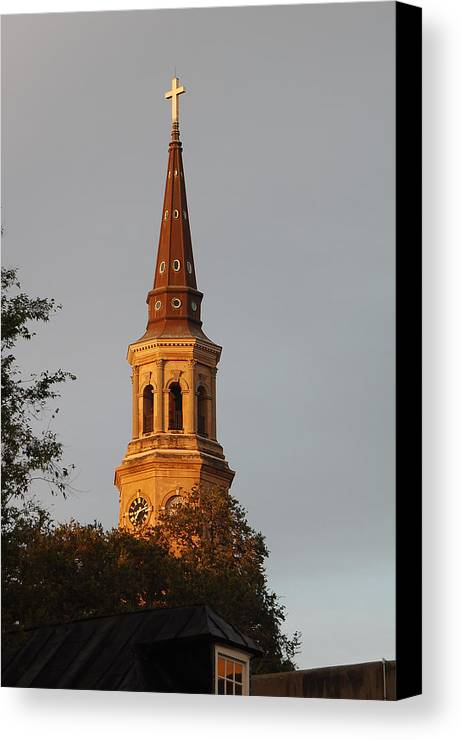 Cross Canvas Print featuring the photograph Pointing Upward by Suzanne Gaff