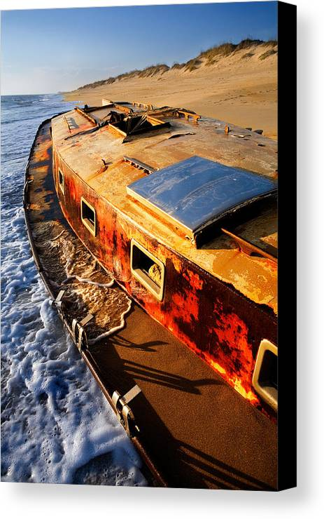 North Carolina Canvas Print featuring the photograph Port Side Down Captain - Outer Banks by Dan Carmichael