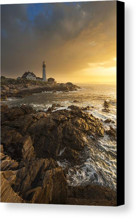 Sunrise Canvas Print featuring the photograph Portland Head Light by Joseph Rossbach