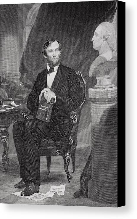 Male Canvas Print featuring the painting Portrait Of Abraham Lincoln by Alonzo Chappel
