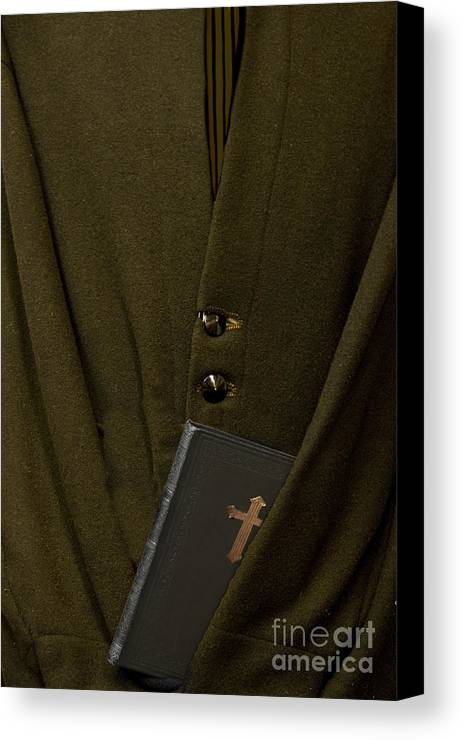 Mens; Old; Grunge; Bible; Binding; Side View; Cross; Metallic; Symbol; Religion; Book; Words; Symbolism; Close Up; Still Life; Object; Read; Prayer; Religious; Priest; Man; Dark; Darkness; Faith; God; Jesus; Clergy; Buttons; Jacket; Christian; Catholic; Canvas Print featuring the photograph Priest by Margie Hurwich
