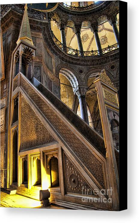 Turkey Canvas Print featuring the photograph Pulpit In The Aya Sofia Museum In Istanbul by David Smith
