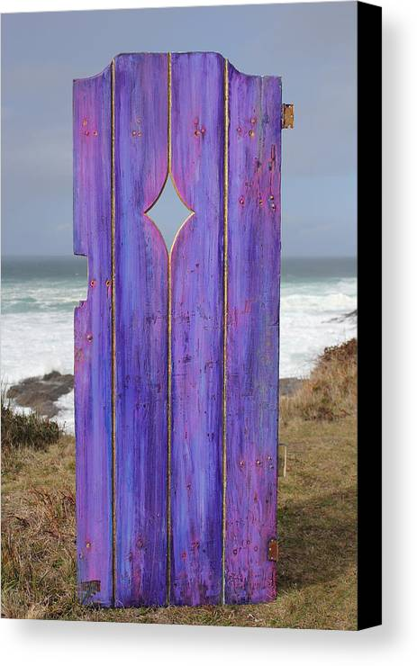 Painted Garden Gate Canvas Print featuring the painting Purple Gateway To The Sea by Asha Carolyn Young