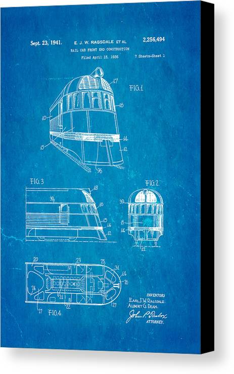 Ragsdale pioneer zephyr train 3 patent art 1941 blueprint canvas engineer canvas print featuring the photograph ragsdale pioneer zephyr train 3 patent art 1941 blueprint by malvernweather Images