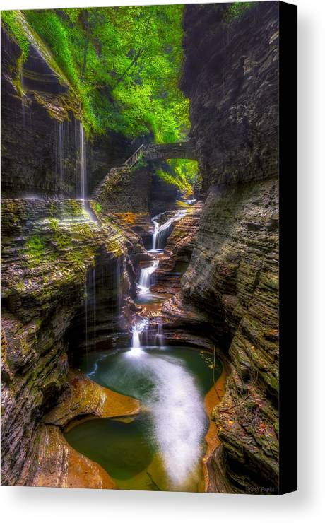 Waterfall Series Canvas Print featuring the photograph Rainbow Falls Of Watkins Glen by Mark Papke
