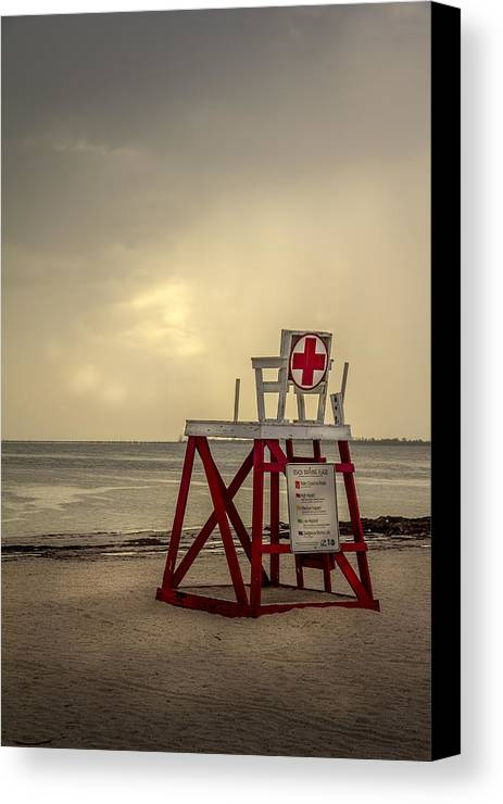 Gulf Of Mexico Sunset Canvas Print featuring the photograph Red Cross Lifeguard by Marvin Spates