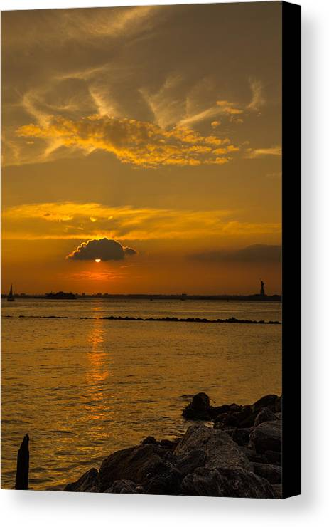Sunsets Canvas Print featuring the photograph Red Hook Sunset 3 by Charles A LaMatto