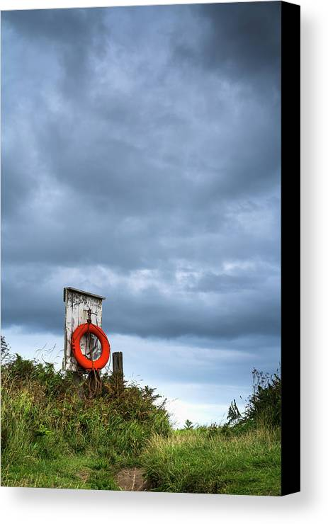 Outdoors Canvas Print featuring the photograph Red Ring Life Preserver Hanging by John Short