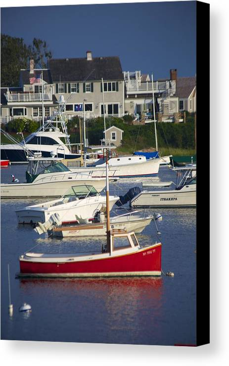 Red Canvas Print featuring the photograph Red Sailboat by Allan Morrison